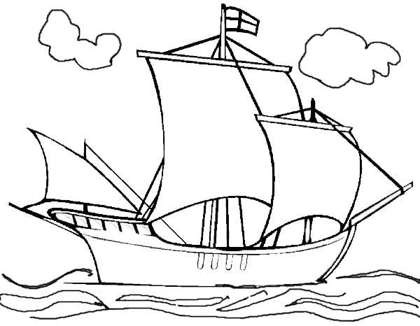 Coloring Pages The Mayflower Boat