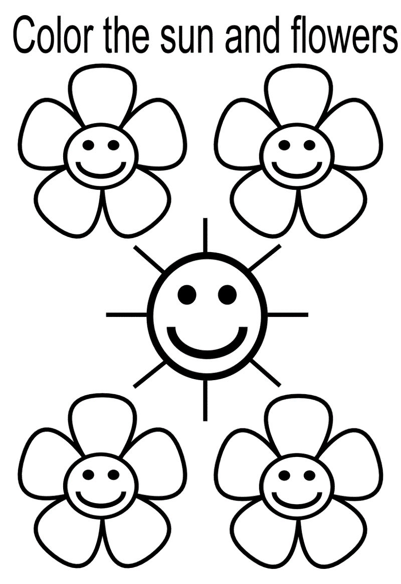 Coloring Worksheets For Kindergarten Flower