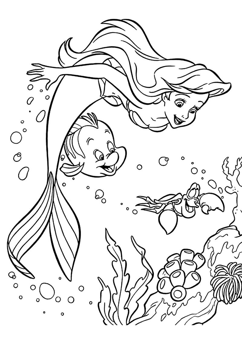 Colouring Pages Mermaid And Fish