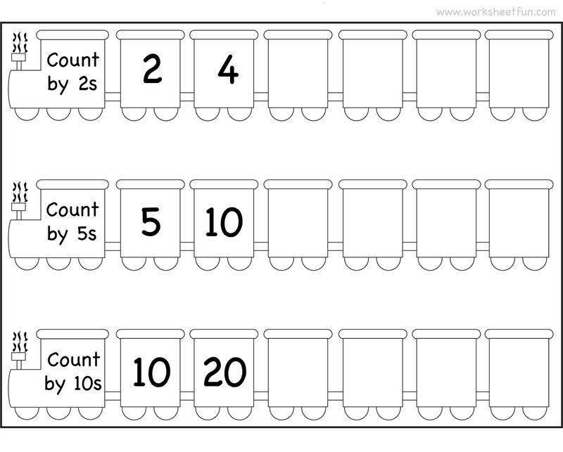 Count By 5 Worksheet Train