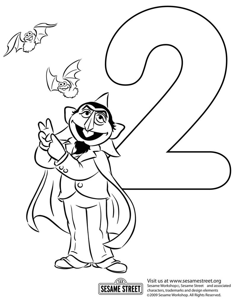 Count Number 2 Sesame Street Coloring Pages