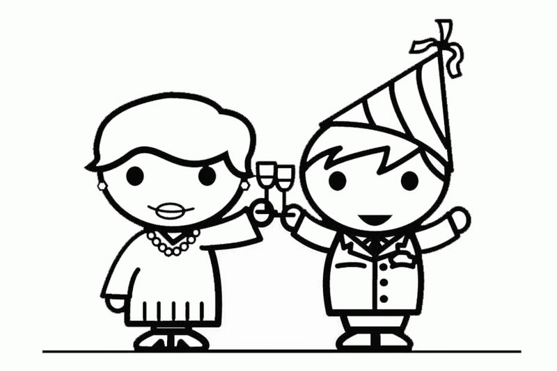 Couple Happy New Year Coloring Pages 1