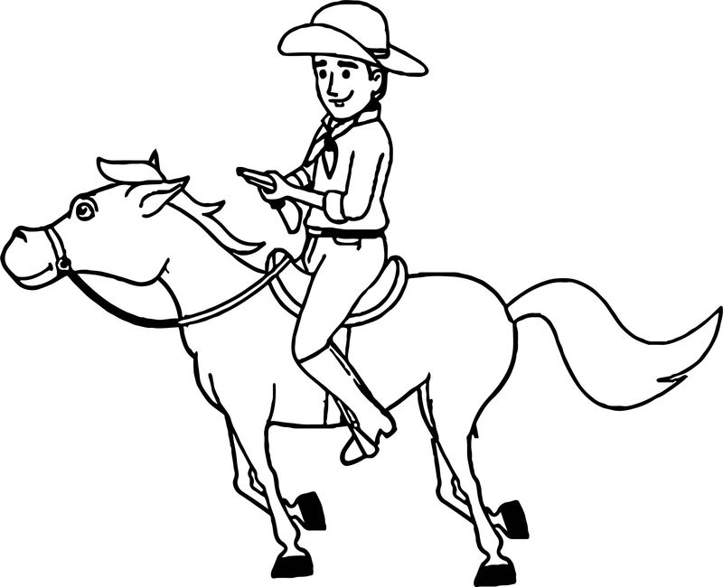 Cowboy Galloping On Horse Coloring Page