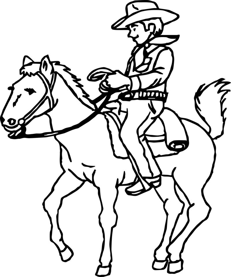 Cowboy On Horse Coloring Page