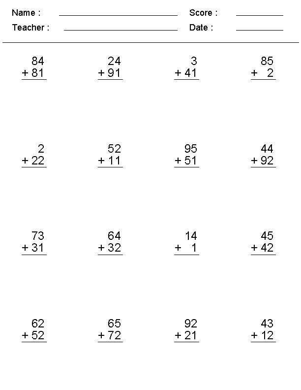 Create Math Worksheets Addition