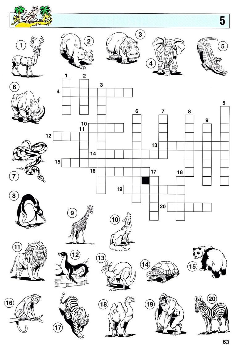 Crossword Puzzles For Kids Animal