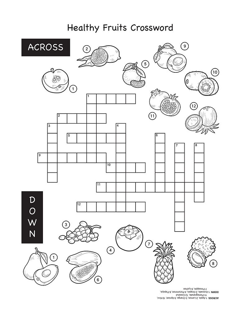 Crossword Puzzles For Kids Fruit