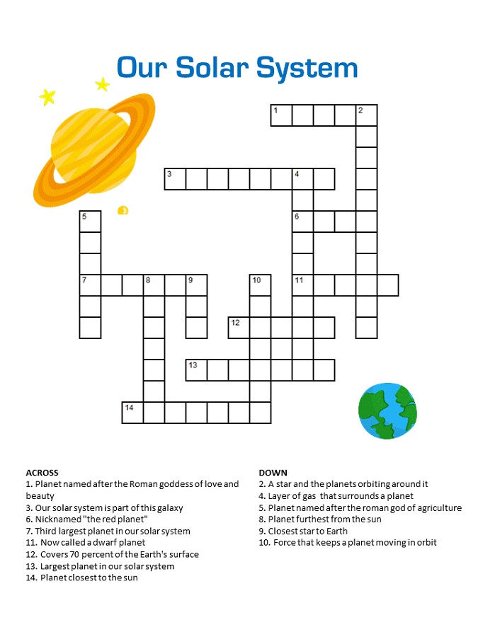 Crossword Puzzles For Middle School