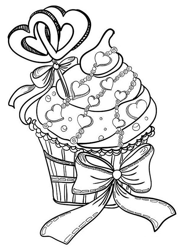 Cupcake Valentines Day Coloring Pages For Adults
