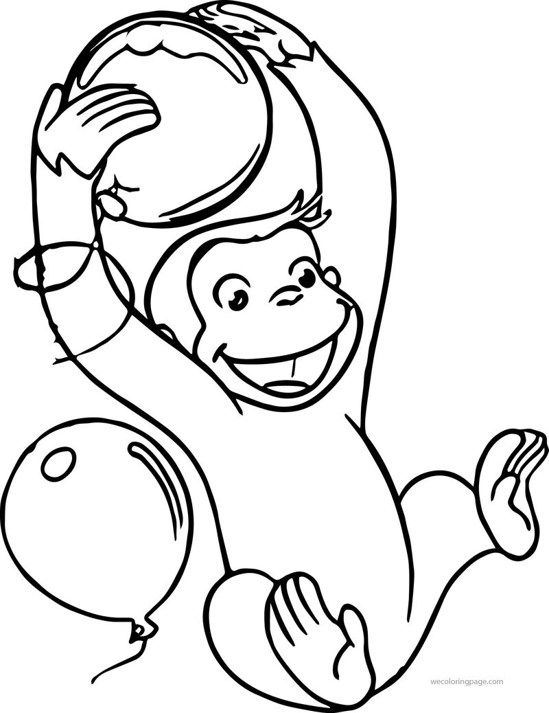Curious George Supershape Foil Balloon Coloring Page