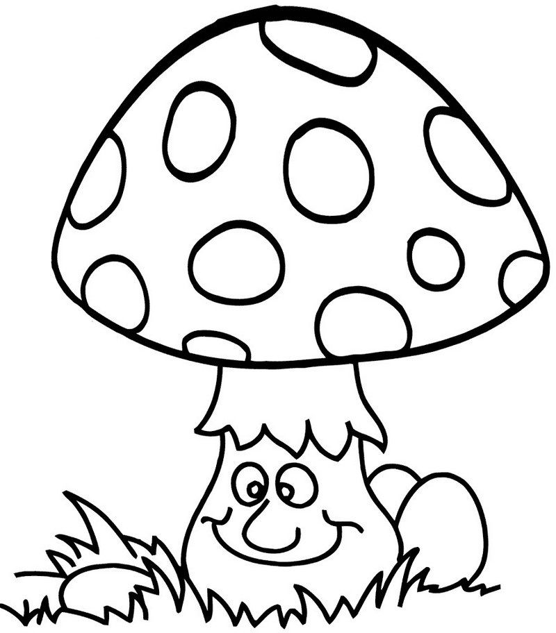 Cute And Funny Mushroom Coloring And Activity Page