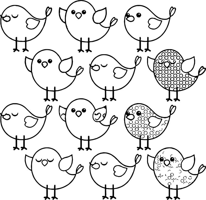Cute Birds Coloring Page