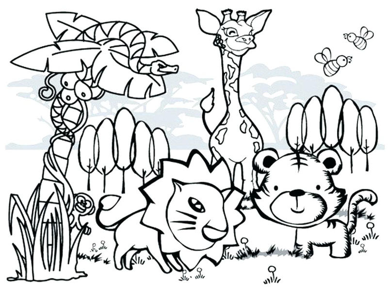 Cute Cartoon Wild Animal Coloring Pages