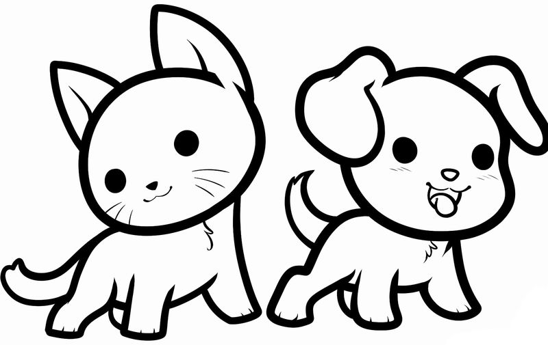 Cute Cat And Dog Animal Coloring Pages