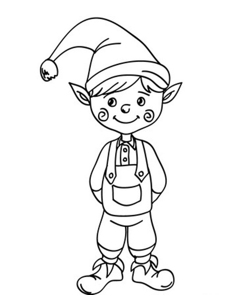 Cute Christmas Elf Coloring Page For Preschoolers