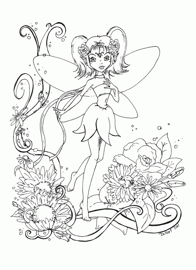 Cute Fairy In Garden Coloring Page