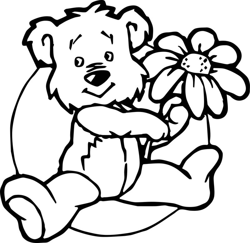 Cute Flower Bear Coloring Page