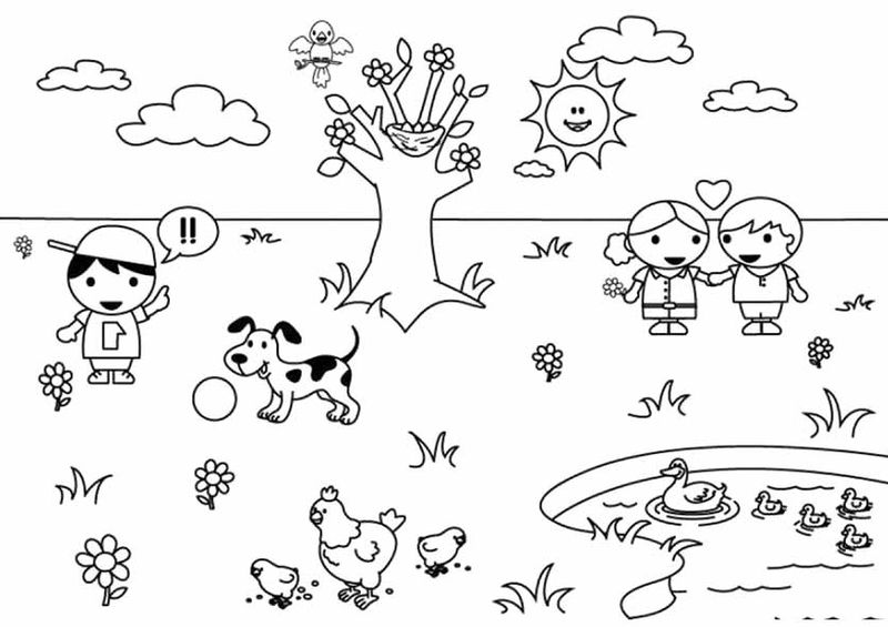 Cute Free Spring Coloring Pages 001