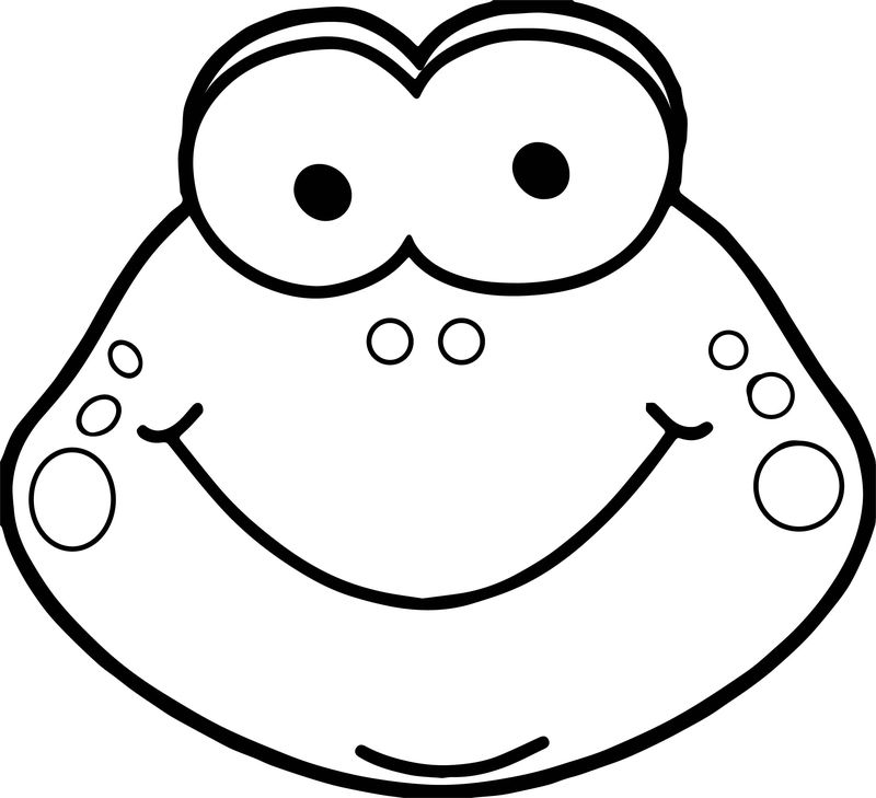 Cute Frog Head Coloring Page