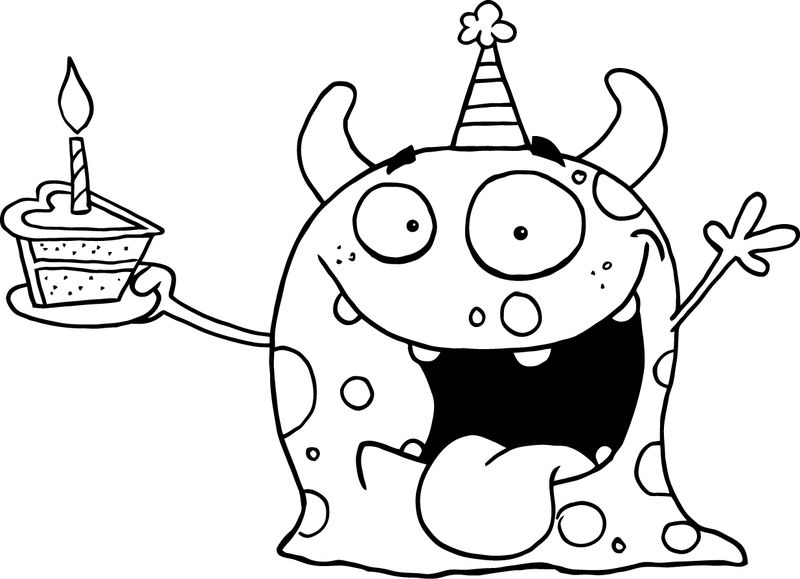 Cute Monster Happy Birthday Coloring Pages