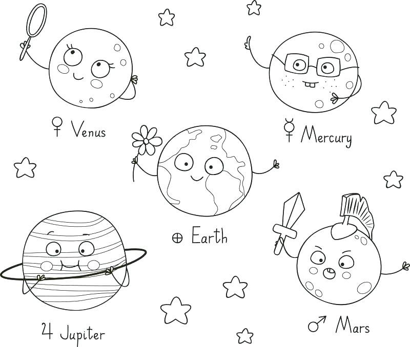 Cute Solar System Planets Coloring Page