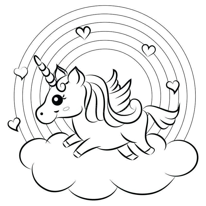 Cute Unicorn And Rainbow Coloring Pages