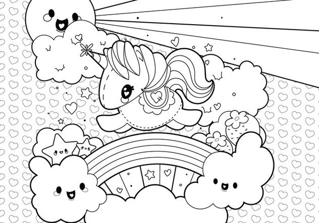 Cute Unicorn Clouds And Rainbow Coloring Page