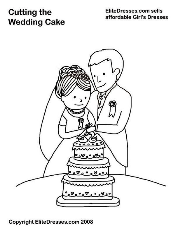 Cutting The Wedding Cake Coloring Page