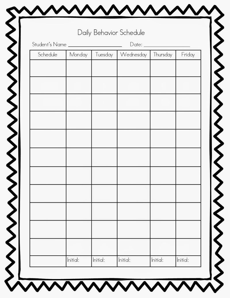 Daily Behavior Chart Printable Blank 001