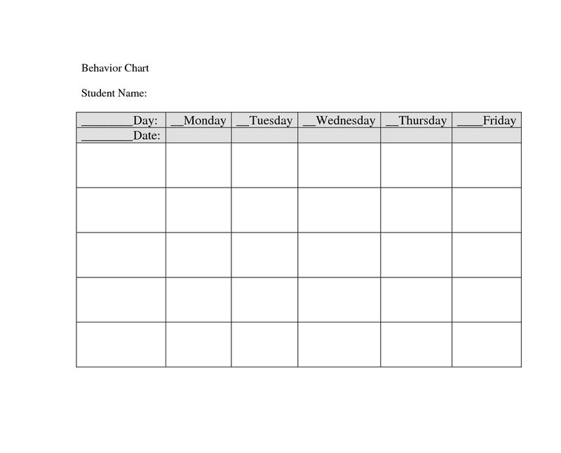 Daily Behavior Chart Printable Free 001