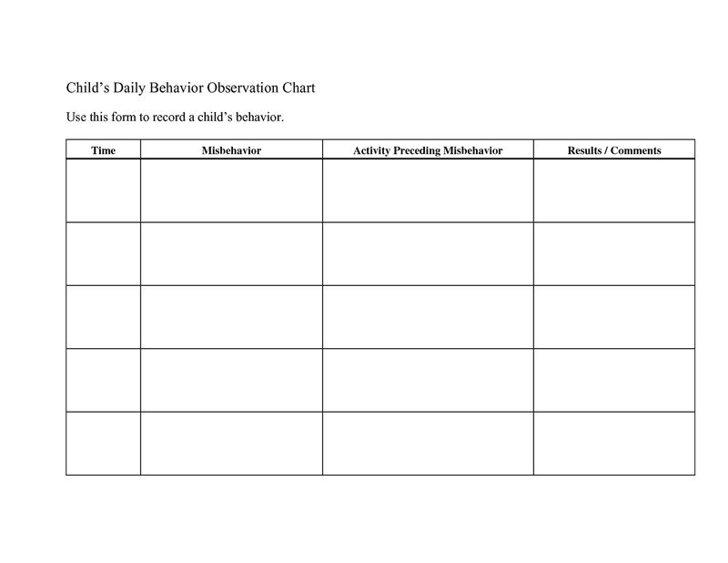 Daily Behavior Chart Printable Template 001