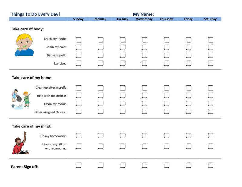 Daily Printable Behavior Charts For Home For Adult 001
