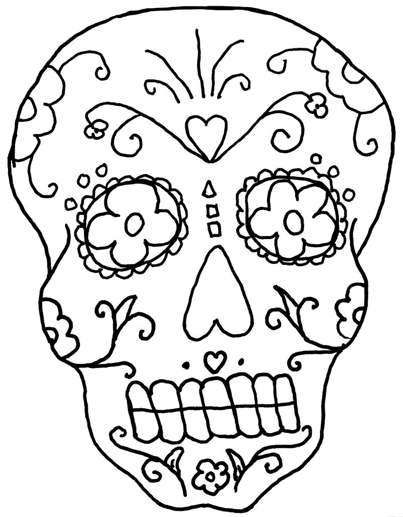 Day Of The Dead Coloring Pages For Adults 001