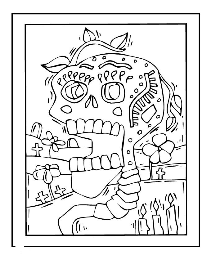 Day Of The Dead Coloring Pages Images 001
