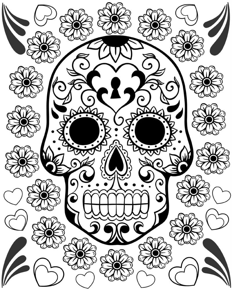 Day Of The Dead Coloring Skulls 001
