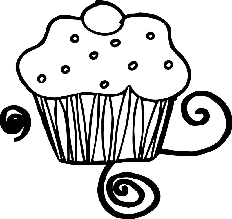 Day Party Cupcake Birthday Coloring Page