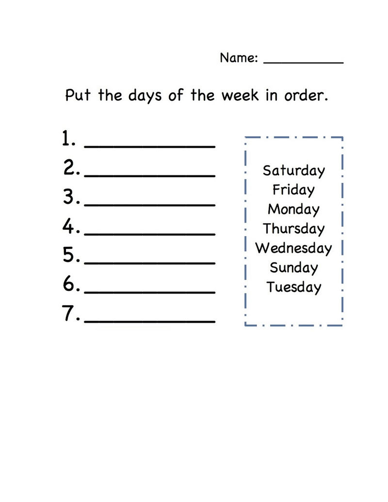 Days Of The Week Activity For Kids