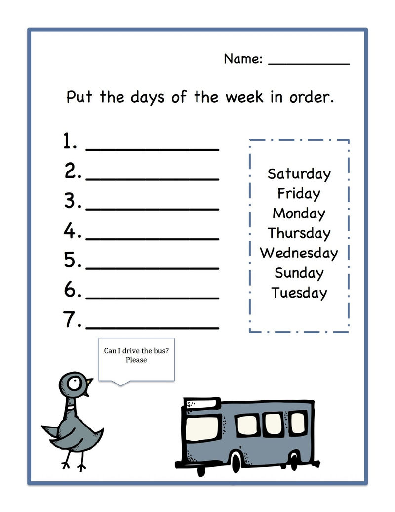 Days Of The Week Worksheet Printable