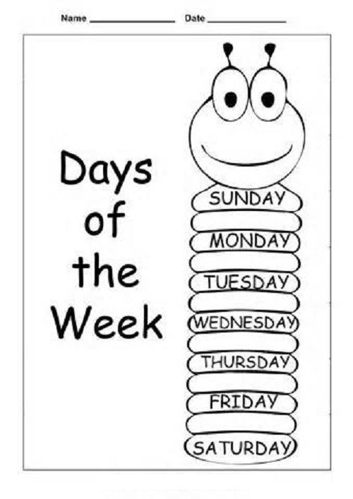 Days Of The Week Worksheets Coloring 001