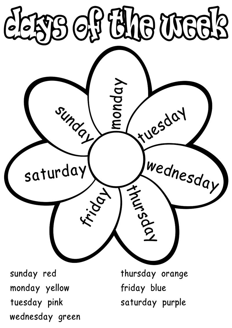 Days Of The Week Worksheets Coloring