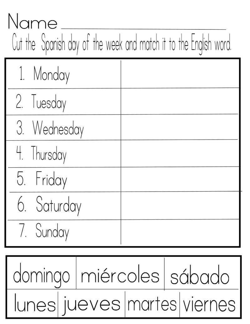 Days Of The Week Worksheets Spanish