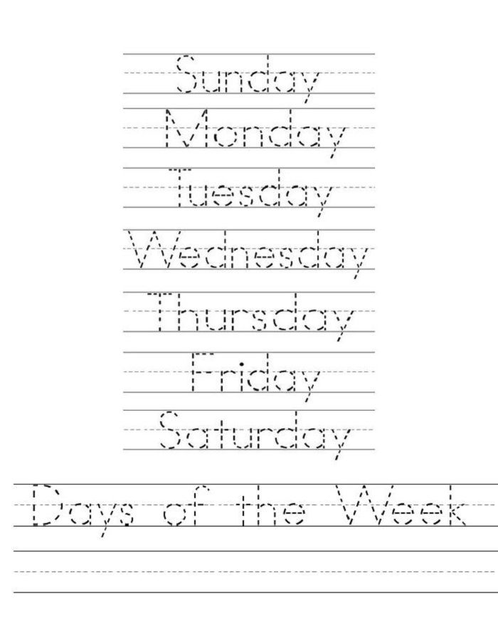Days Of The Week Worksheets Tracing 001