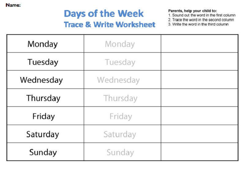 Days Of The Week Worksheets Tracing And Writing
