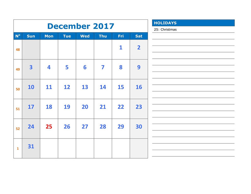 December Calender 2017 With Holidays 001