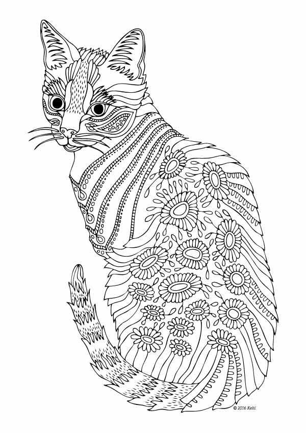 Detailed Flowered Cat Coloring Page