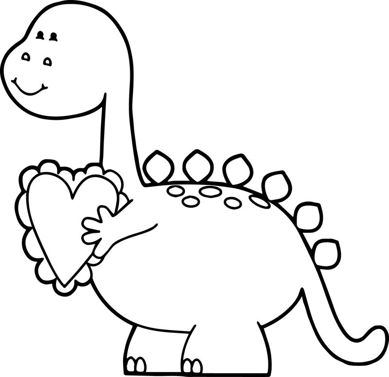 Dinosaur Valentine Coloring Page