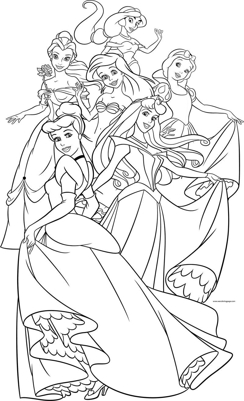 Disney Princess Girls Group All Coloring Page