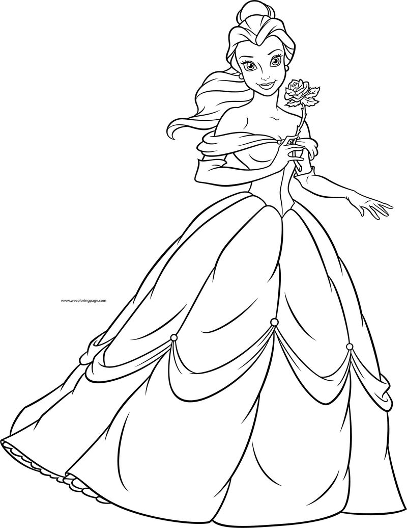 Disney Princesses Belle Rose Coloring Page