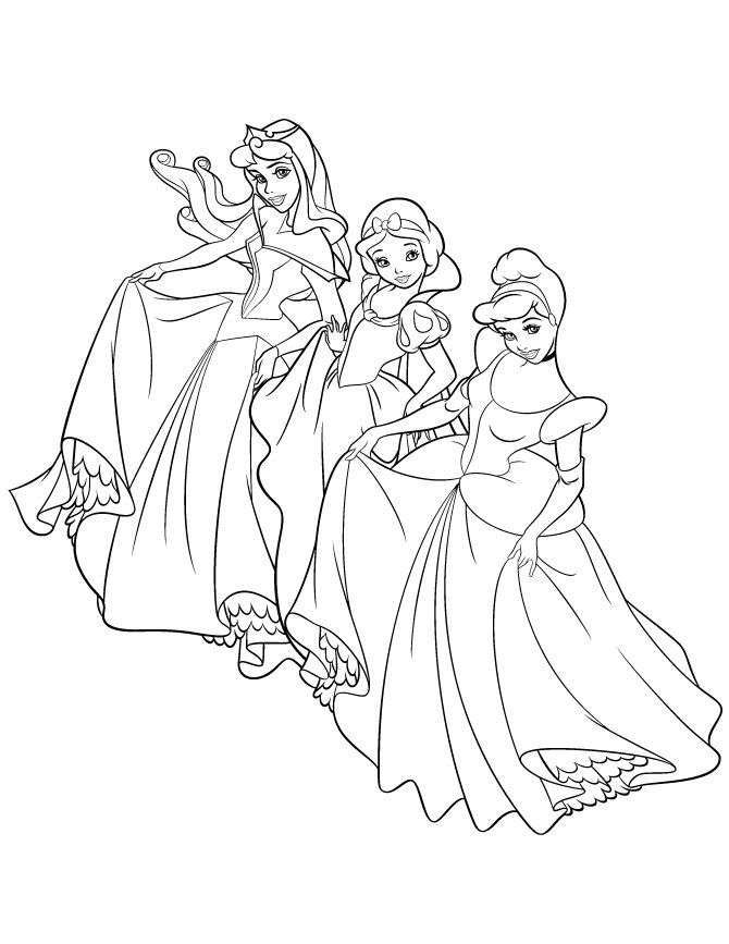 Disney Princesses Coloring Page 1