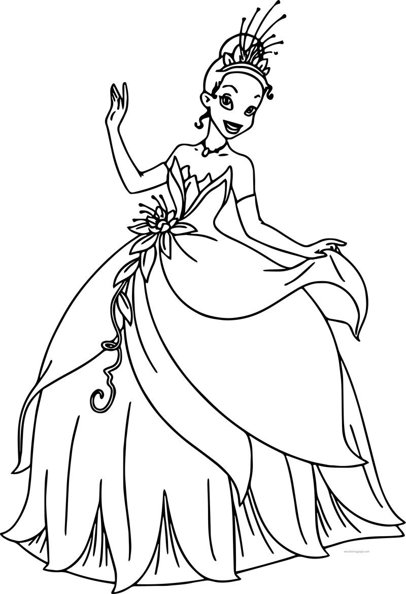 Disney The Princess And The Frog Beautiful Dress Tiana Barbie Style Coloring Page